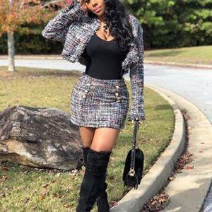 Fashion nova tweed skirt set small